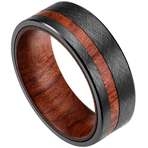 (DOUX 8mm Mens Black Tungsten Carbide Wedding Ring Rosewood Inlaid Wire Brushed Finished Flat Style 13)