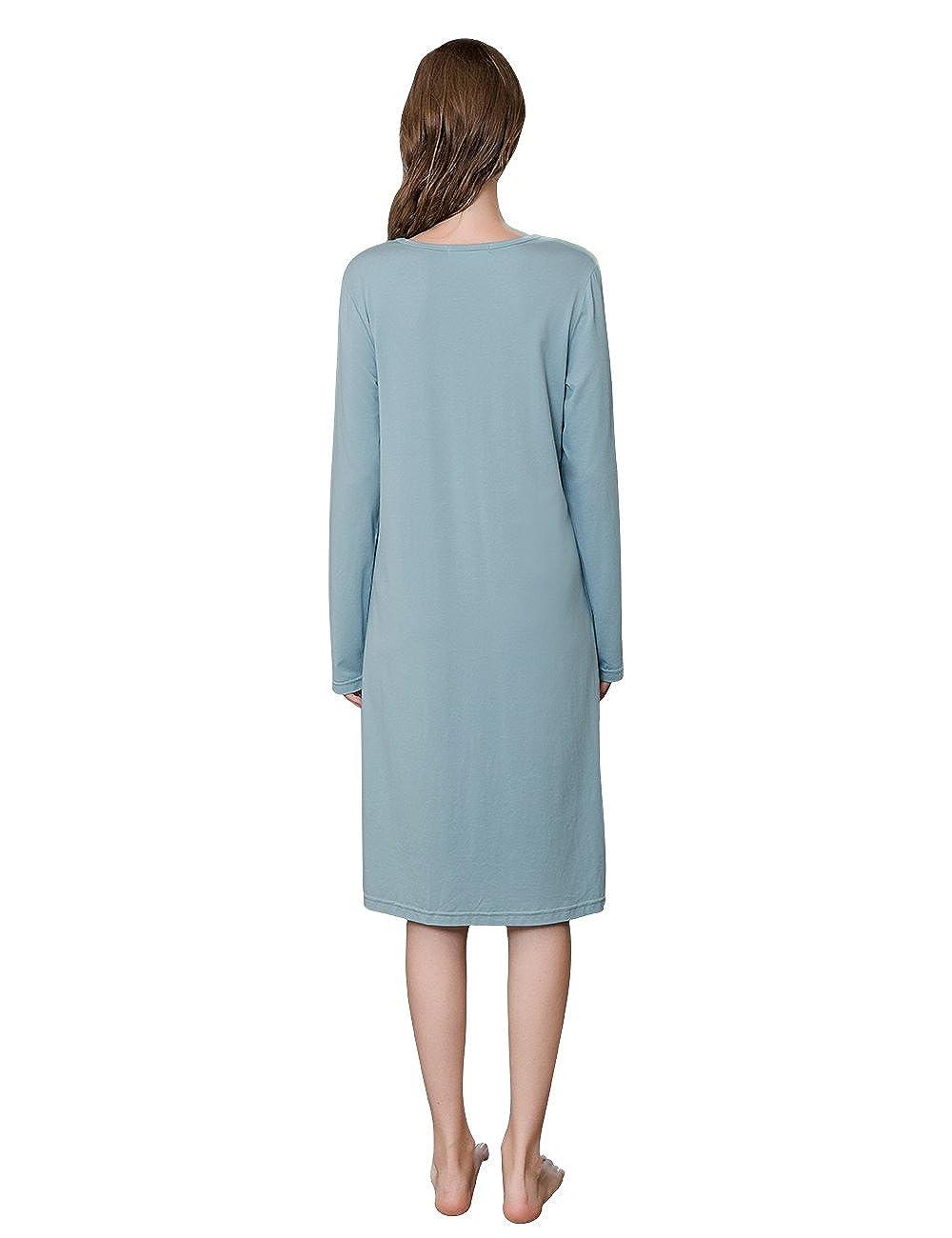 QIANXIU Women  s Summer New Nightgown Long Sleeved Modal Cotton Knit Sleep  Skirt Nightshirt at Amazon Women s Clothing store  39b85cf67