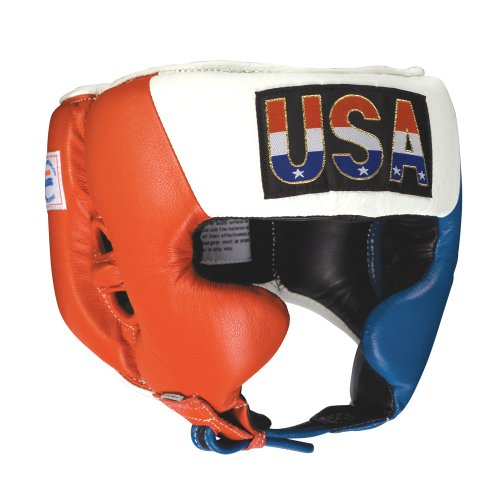 Ringside Competition Boxing Headgear with Cheeks (Red-White-Blue, X-Large)