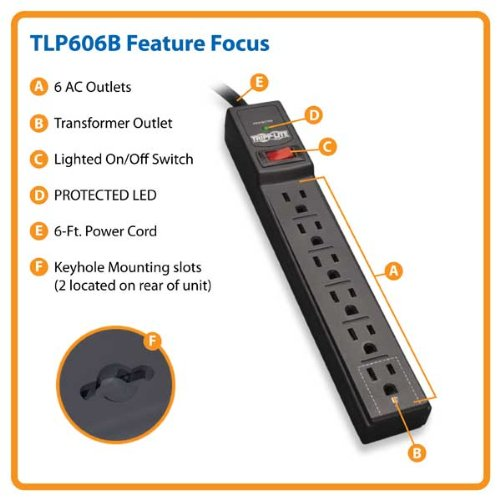 037332138293 - Tripp Lite 6 Outlet Surge Protector Power Strip, 6ft Cord, 790 Joules, Black, 50K Insurance (TLP606B) carousel main 1