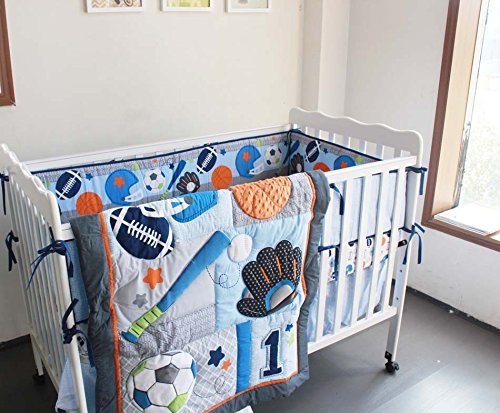 New 8 Pieces Baby Boy Sport Crib Bedding Set (Blue): (1)quilt,(4)bumper pads,(1) fitted sheet,(1) dust ruffle(skirt),(1) fleece blanket