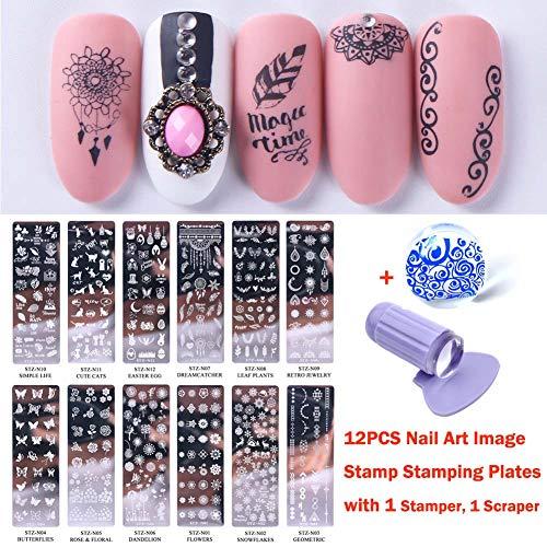 Lookathot 12PCS Nail Art Image Stamp Stamping Plates with 1 Stamper, 1 -