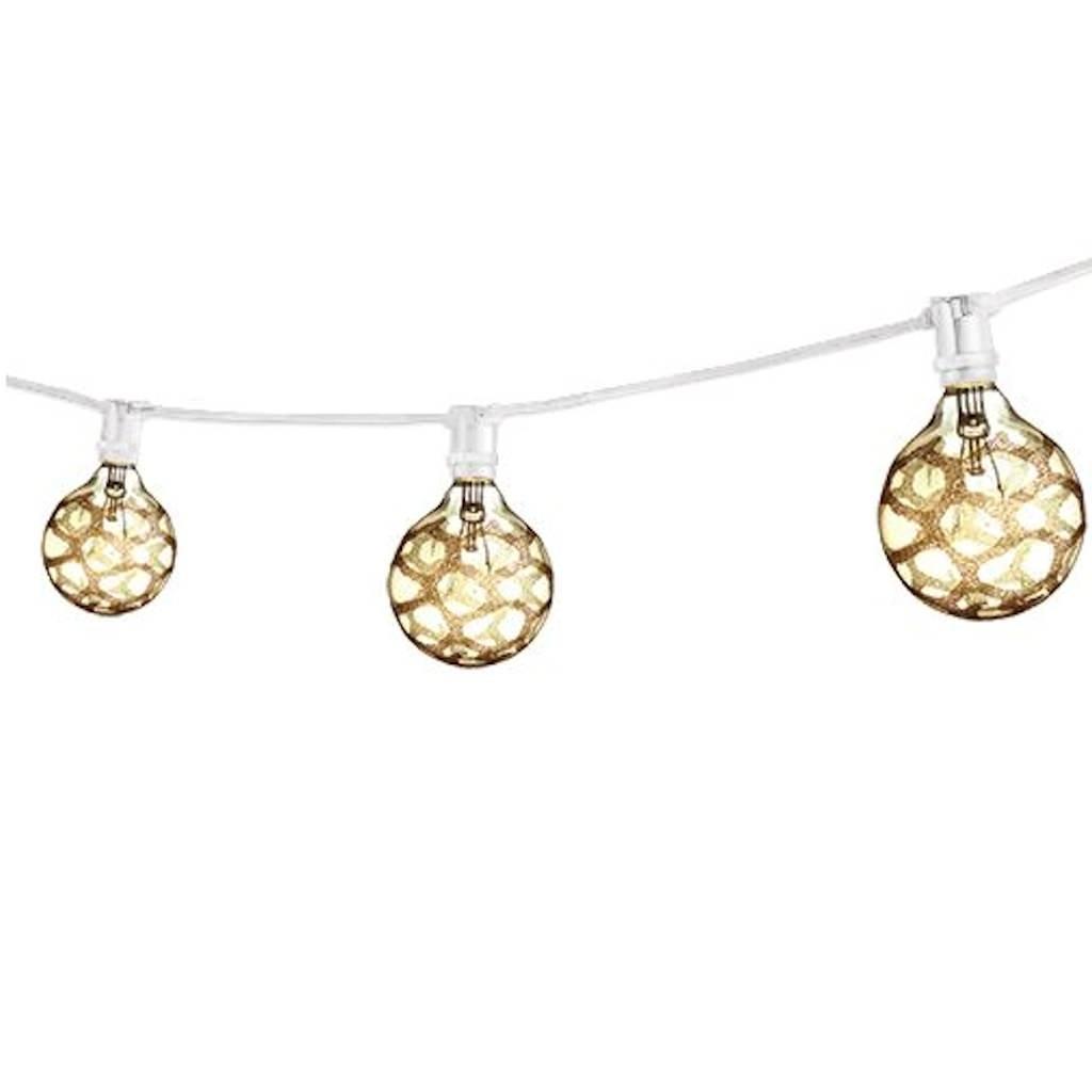 Bulbrite STRING15/E12/WHITE-G16MAR-KT Outdoor Mini String Light w/Incandescent G16 Marble Etched Bulbs, 25-Feet, 15 Lights, White