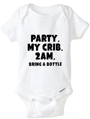 5f2f6dd16 Amazon.com: Party My Crib 2am Bring A Bottle Onesie, Funny Baby Onesies,  Baby Bottle Onesie: Handmade