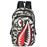 Shark Backpack Travel Bag for High School Student or Adult Backpack, Camouflage