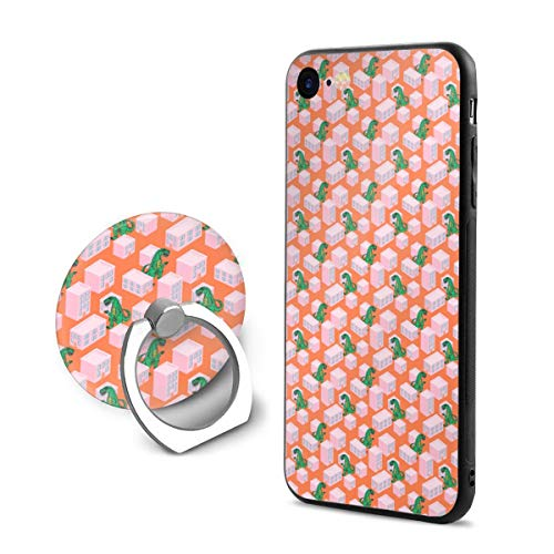Dino Monster in Night City Pink iPhone 8 Case with Grip Ring Holder Multi-Function iPhone 8 Cover with 360¡« Rotating Ring Holder Stand for Magnetic Car Mount Holder Case Compatible -