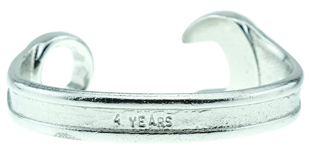 Spanner Wrench Bangle Bracelet 8th Anniversary Gift Ideas For Him Mens Gift Stamped With 8 YEARS