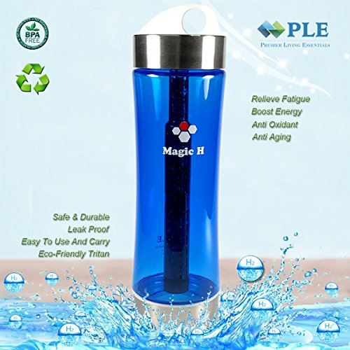 Hydrogen Alkaline Water Bottle Mineral Filter Water Bottle Provide Hydrogen Alkaline Water Anti Aging,Leak Proof,BPA Free,Eco-Friendly Tritan Plastic,No Electricity, PLE Magic H