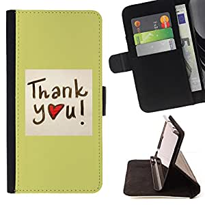 BullDog Case - FOR/Samsung Galaxy A3 / - / Thank You Heart /- Monedero de cuero de la PU Llevar cubierta de la caja con el ID Credit Card Slots Flip funda de cuer