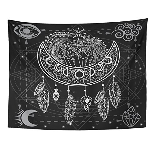 - Emvency Tapestry Four Primal Water Fire Air Earth Moon Dreamcatcher Flowers Home Decor Wall Hanging for Living Room Bedroom Dorm 60x80 Inches