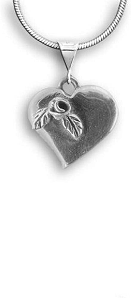 Sterling Silver Rose Heart Large Pendant by The Magic Zoo