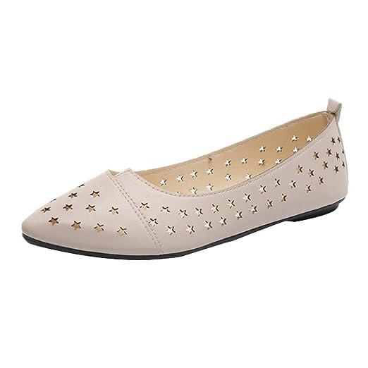 e906ecbd4ed2d DENER Women Ladies Girls Flat Shoes, Hollow Pointed Toe Low Heel ...