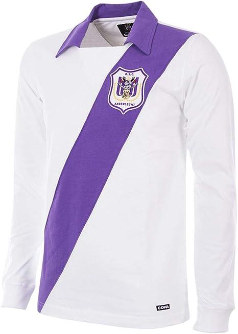 copa RSC Anderlecht 1962-63 Football Shirt Camiseta Retro con Cuello de fútbol, Hombre, Violeta y Blanco, Large: Amazon.es: Deportes y aire libre
