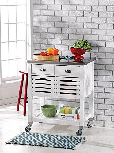 Linon AMZN0267 Hudson White Kitchen Cart, by Linon (Image #2)