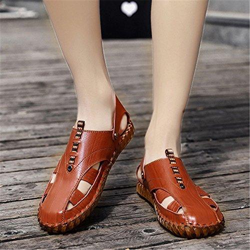 Zapatos EU Color Marrón De Playa De Zapatos Hombres Color Doble Los 3 De De Wangcui 40 Amarillo tamaño 2 Marrón Huecos De Uso Verano Antideslizantes Sandalias SpqPw6f