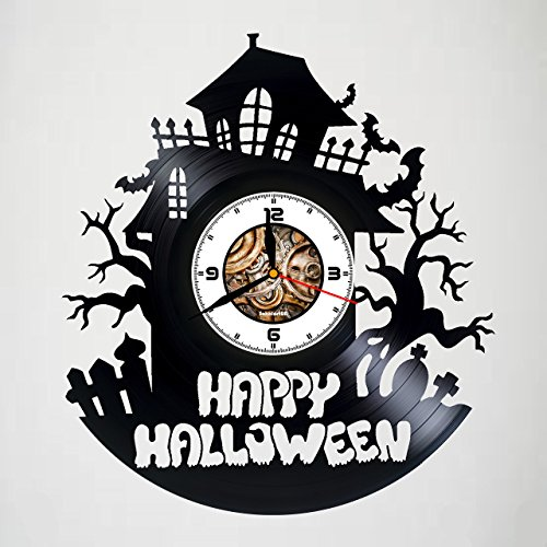 (HAPPY HALLOWEEN NIGHT - Handmade Vinyl Wall Clock – Original gift for any occasion – unique birthday, wedding, anniversary gifts - Wall décor Ideas for any space – Customize your)