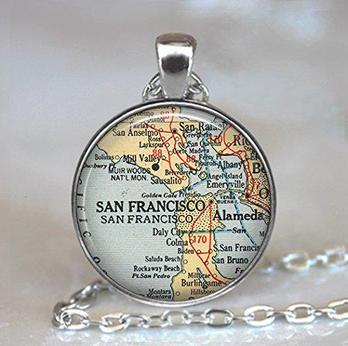 San Francisco map pendant, San Francisco pendant, San Francisco map necklace, Alameda - San Rafael Stores