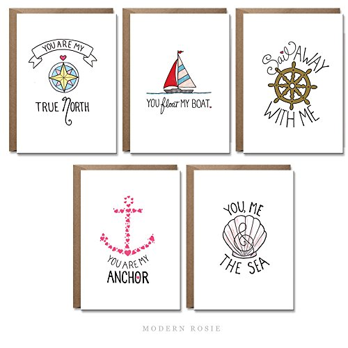 Nautical Sweetheart Cards by Modern Rosie - Set of 10