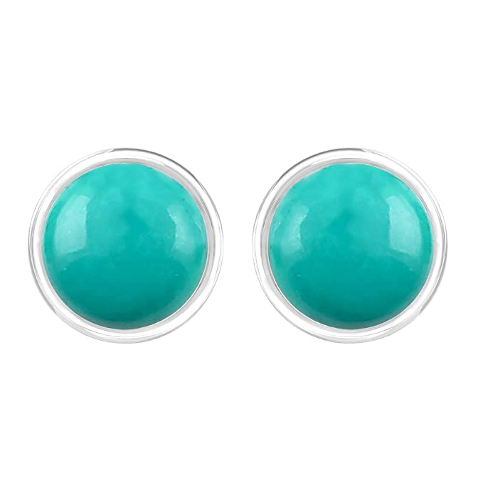 816d7e623 Amazon.com: Turquoise Earrings Round Handmade 7mm Studs with Sterling Silver  for Women Girls: Clothing