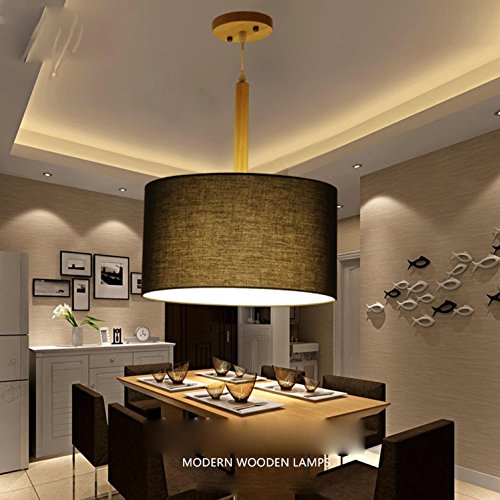 [GRFH Modern Simple Restaurant Pendant Lamp Living Room Bedroom Cafe Wooden Fabric Ceiling Light Creative Round Clothing Shop Fabric Flame Retardant Linen Fabric Pendant Lights , a] (Linen Rose Saucer)
