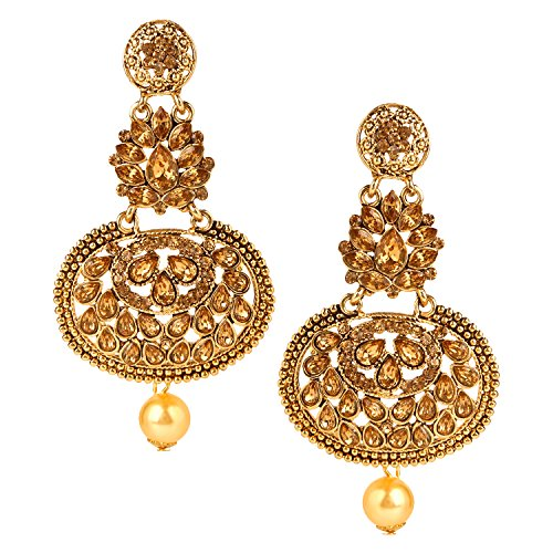 Ameeyo Bollywood Indian Designer Gold Plated Bohemian Tribal Vintage Dangle Earring