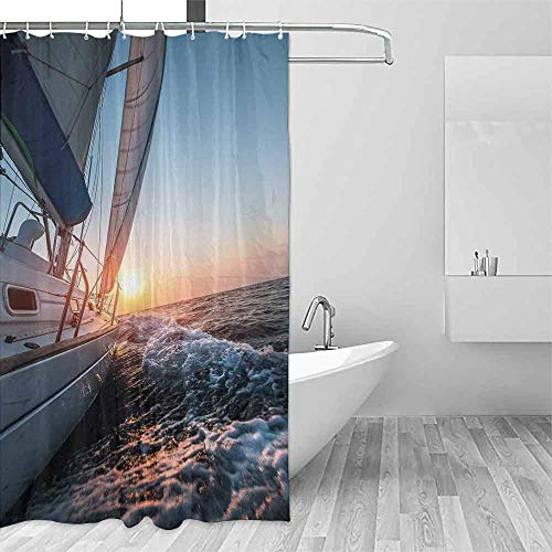 (DONEECKL Flower Shower Curtain Nautical Sail Boat in The Sea Waves Toward Sunset Marine Adventure Hobby Scenery Single stall Shower Curtain W79 xL72 Pale Blue Yellow)