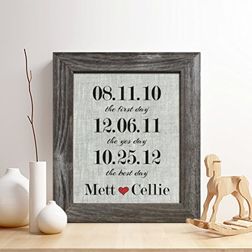 Personalized 4th Linen Anniversary Gift for Him or Her, Special Dates Important Dates Linen Print, Gifts for Husband and Wife, 4 Years Together