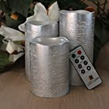 RUSTIC SILVER FLAMELESS Candles with Timer Remote Control, Unscented Flickering Battery Operated Electric Candle for Halloween, Weddings Decorations, Parties and Awesome Gifts