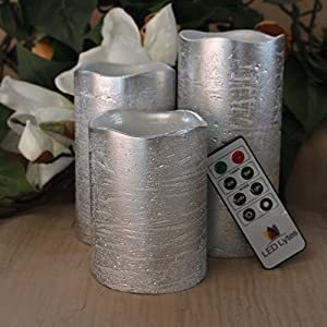 Flameless Candles by LED Lytes, Set of 3 Ivory Wax, Flickering LED Candles with auto-Off Remote Control