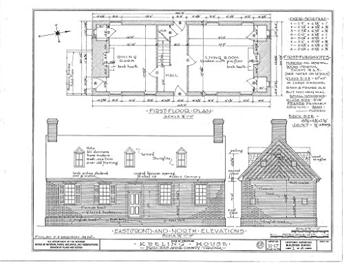 Historic Pictoric Blueprint Diagram HABS VA,77-LONBR.V,1- (Sheet 1 of 6) - Adam Keeling House, Keeling Road, London Bridge, Virginia Beach, VA 30in x 24in
