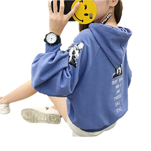 Minzhi Women Girl Hooded Hoodie Sweater Puff Sleeve Loose Couples Pullover Tops Student Hoody Shirts by Minzhi