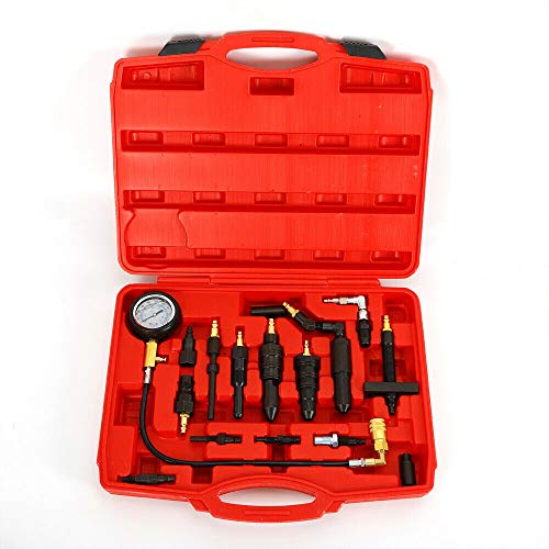 Compression Test Kit Auto Diesel Gauge Cylinder Pressure Meter Tool Set with Carry Case Include Most Engine Adapters Type ()