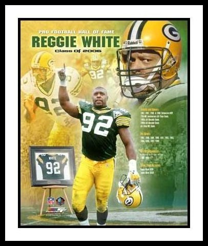 Reggie White Framed Green Bay Packers 8x10 Photo - 2006 Hall Of Fame Collage