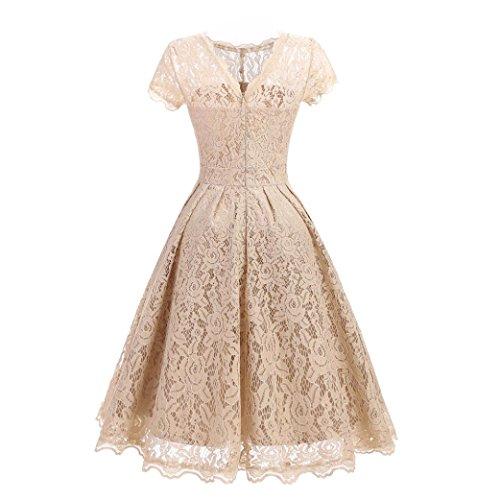 Beige fiesta coctel honor corta Vestido de encaje vestidos para Vintage floral Vestidos largos Swing noche Dama Vestido Mujer de Amlaiworld manga Señoras de mujer de largos bodas nxC7qF