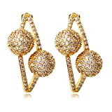 K-Elegant Double ball earrings with stones Long earrings for for wedding party earrings