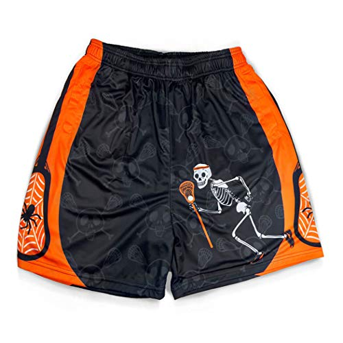 Premium Halloween Lacrosse Athletic Shorts | Never Stop Laxing | Adult Large -