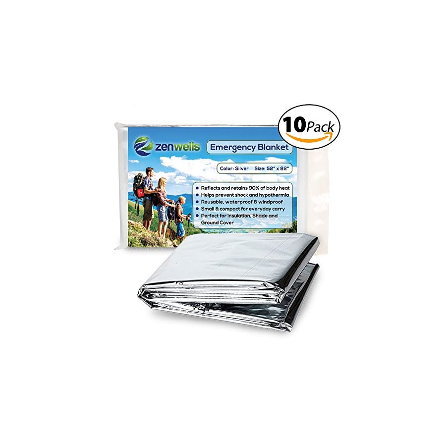 Emergency Mylar Thermal Blanket 10 Pack; Space Blankets Designed for NASA, Perfect Survival Gear for Adults and Kids, Equipment for Earthquake Preparedness Kit, Outdoors, Bug Out Bags, First Aid Kit