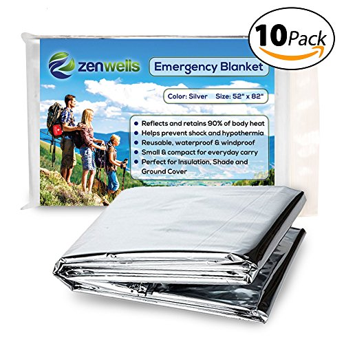 Two Sided Mylar Foil (Emergency Blanket (10-Pack), Silver 52