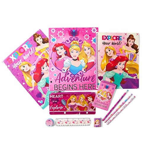 Disney Princess Kids Stationery Set - Perfect for Back to School and Party Gift Bags - Includes Pencil Case, Folders, Pencils, Notepad, Notebook, Ruler and Eraser