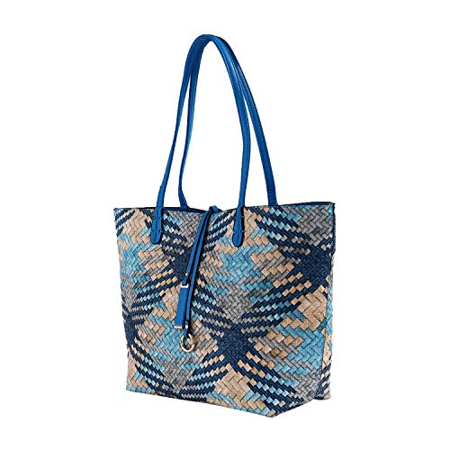(Mentor Tote Bag 9012-6 Soft Leather Large Tote Shoulder Bags for Women Waterproof Woven Handbag with Big Capacity 2PCS (Blue))