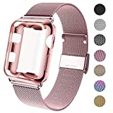 GBPOOT Compatible for Apple Watch Band 38mm 40mm 42mm 44mm with Screen Protector Case, Sports Wristband Strap Replacement Band with Protective Case for Iwatch Series 4/3/2/1,44mm,Rose Gold
