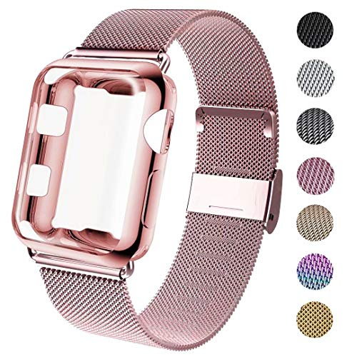 GBPOOT Compatible for Apple Watch Band 38mm 40mm 42mm 44mm with Screen Protector Case, Sports Wristband Strap Replacement Band with Protective Case for Iwatch Series 4/3/2/1,42mm,Rose Gold