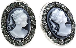 White Gray Cameo Stud Earrings Post Fashion Jewelry