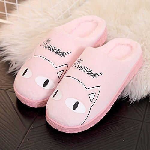 Fankou autunno inverno Cartoon carino uomini e donne adulti pantofole di cotone cotone caldo scarpe anti-slip case con piscina home scarpe ,39-40, rosa gatti grassi