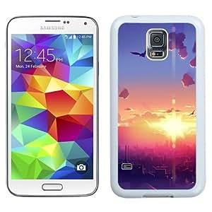 NEW Unique Custom Designed Samsung Galaxy S5 I9600 G900a G900v G900p G900t G900w Phone Case With Sunrise City Morning Birds Illustration_White Phone Case