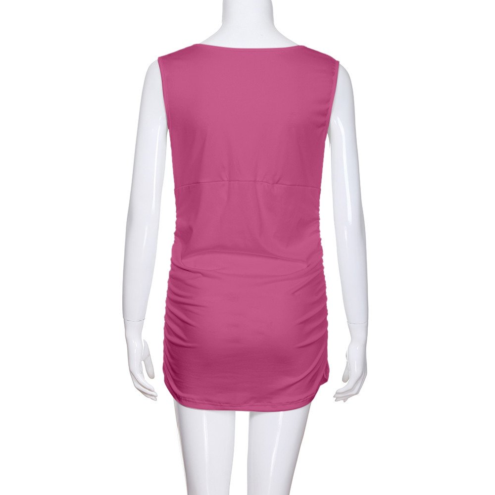 Women's Ruched Hem Blouse, Gogoodgo Ladies V-Neck Cross Strap Maternity Tops Stretched Round Neck Tank Tops Hot Pink by Gogoodgo vest (Image #7)