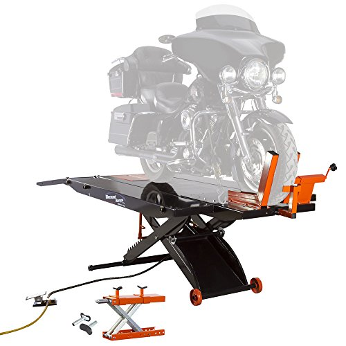 Motorcycle Service Lift (Black Widow ProLift Motorcycle Lift Table with Cruiser V-Twin Center Jack)