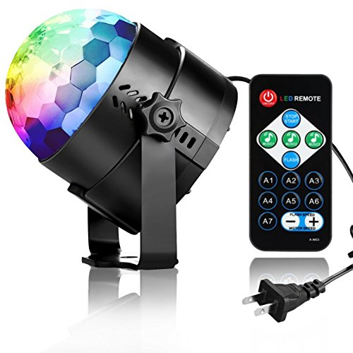 Disco Light Disco Ball Party Light COIDEA 3W 7 Colors Sound Activated Strobe Light with Remote for Kids Toys Birthday Gifts Karaoke Club Bar Wedding Holiday Dance Night (Themes For Balls)