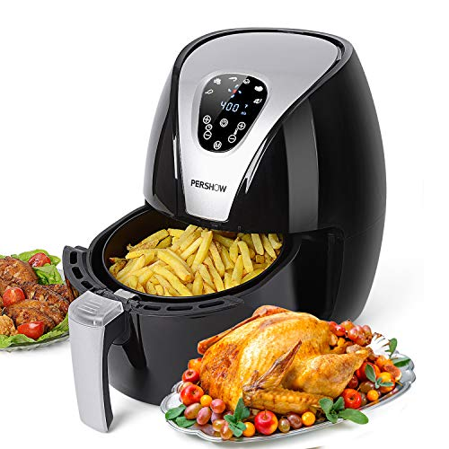Air Fryer, PERSHOW Electric Hot Air Fryer Cooker, 6 Cook Prests, Comes with Recipes & CookBook – Touch Screen Control – Dishwasher Safe – Auto Shut off & Timer, 2.6 QT