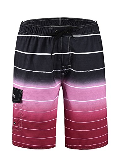 Unitop Men's Colortful Striped Swim Trunks Bathing Beach Board Shorts With Lining Red-32